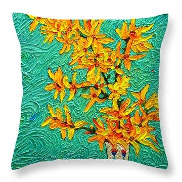 Forsythia Vibration Modern Impressionist Flower Art Palette Knife Oil Painting By Ana Maria Edulescu Throw Pillow