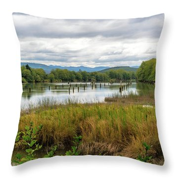 Throw Pillow featuring the photograph fort Clatsop on the Columbia River by Michael Hope