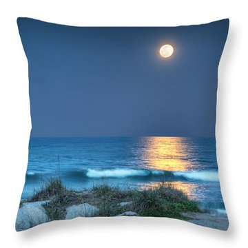 Fort Fisher Moonbeam Throw Pillow