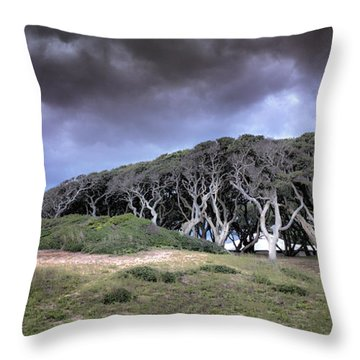 Fort Fisher Stormy Sunset Throw Pillow