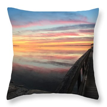 Fort Fisher Sunset Reverie With Heron Throw Pillow