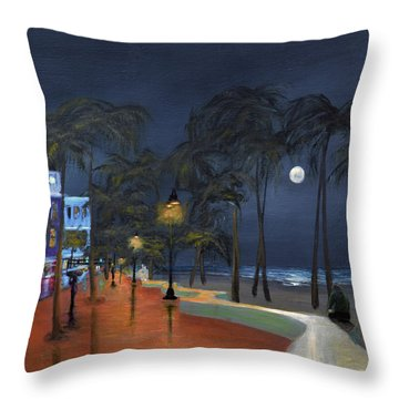 Fort Lauderdale Beach At Night Throw Pillow