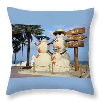 Fort Lauderdale Snowman Throw Pillow