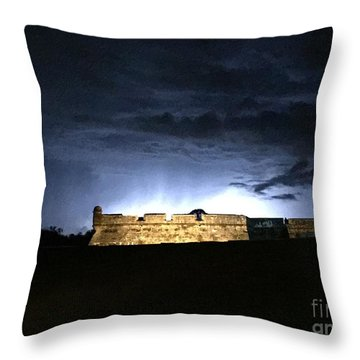 Lightening At Castillo De San Marco Throw Pillow