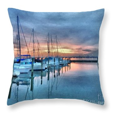 Throw Pillow featuring the photograph Fort Monroe Afire by Linda Mesibov