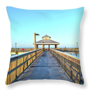 Fort Myers Beach Florida Fishing Pier Throw Pillow by Timothy Lowry