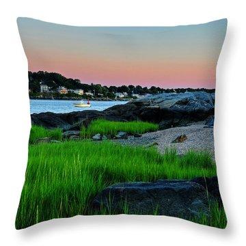 Fort Pickering Light Through The Tall Grass Salem Ma Throw Pillow