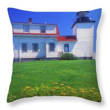 Fort Point Lighthouse Stockton Springs Throw Pillow by John Burk