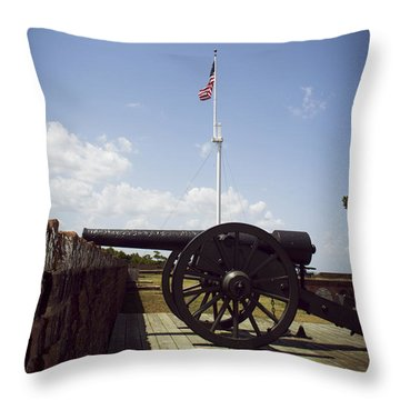 Fort Pulaski Cannon And Flag Throw Pillow