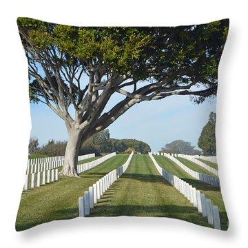 Fort Rosecrans National Cemetery Throw Pillow by Renie Rutten