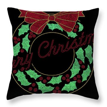 Fort Wayne Christmas Wreath Throw Pillow