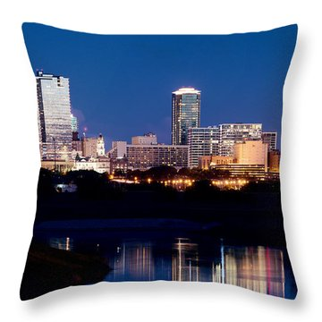 Fort Worth Skyline At Night Poster Throw Pillow