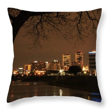 Fort Worth Skyline Throw Pillow by Jill Smith