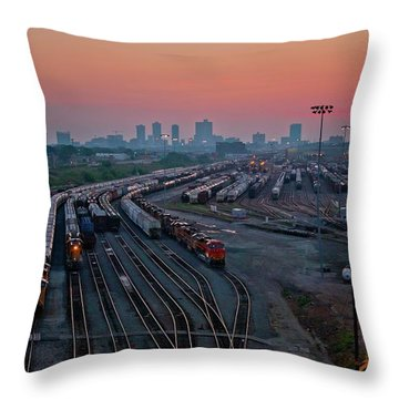 Fort Worth Trainyards Throw Pillow