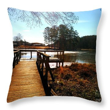 Throw Pillow featuring the photograph Fort Yargo Boardwalk by Utopia Concepts