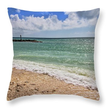 Throw Pillow featuring the photograph Fort Zachary Taylor Historic State Park Beach In Key West by Bob Slitzan