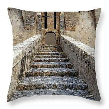 Throw Pillow featuring the digital art Fortezza Spagnola - Porto Santo Stefano, Italy by Joseph Hendrix