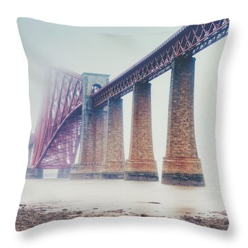 Throw Pillow featuring the photograph Forth Bridge Rain by Ray Devlin