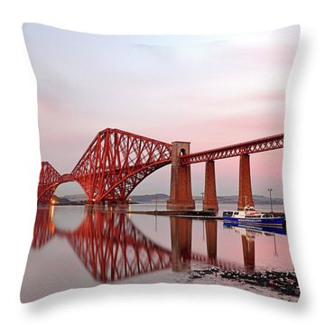 Throw Pillow featuring the photograph Forth Railway Bridge Sunset by Grant Glendinning