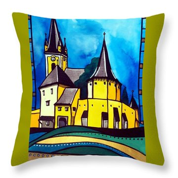 Fortified Medieval Church In Transylvania By Dora Hathazi Mendes Throw Pillow