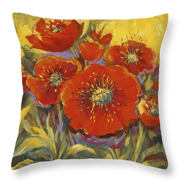 Fortuitous Poppies Throw Pillow