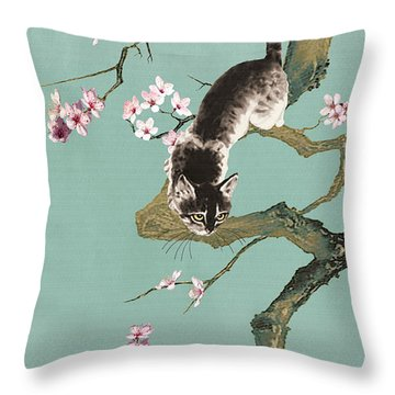 Fortune Cat In Cherry Tree Throw Pillow