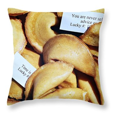 Fortune Cookie Throw Pillow by Vivian Krug Cotton