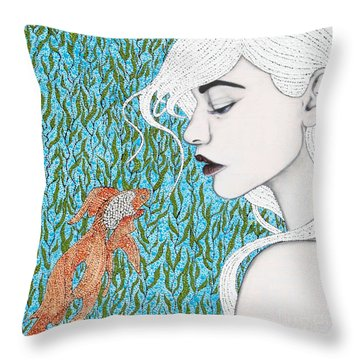 Throw Pillow featuring the mixed media Fortune Found Me by Natalie Briney