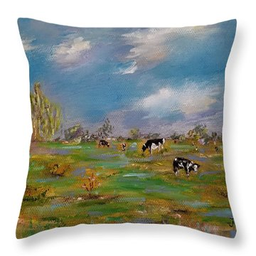 Throw Pillow featuring the painting Forty Acres by Judith Rhue