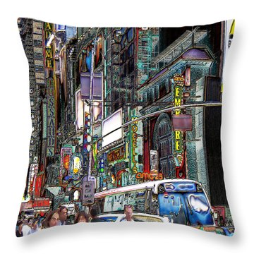 Forty Second And Eighth Ave N Y C Throw Pillow by Iowan Stone-Flowers