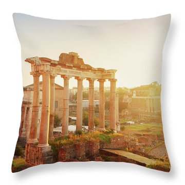 Forum - Roman Ruins In Rome At Sunrise Throw Pillow