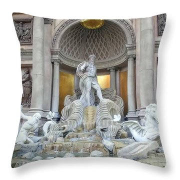 Forum Shops Statues At Ceasars Palace Throw Pillow