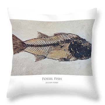 Throw Pillow featuring the digital art Fossil Fish by Julian Perry
