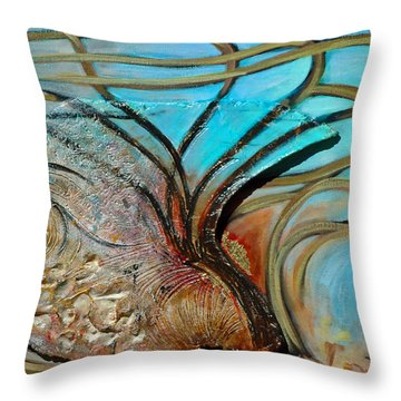 Throw Pillow featuring the painting Fossil In The Deep by Suzanne McKee