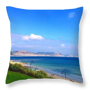 Lyme Regis Bay In Sun Throw Pillow