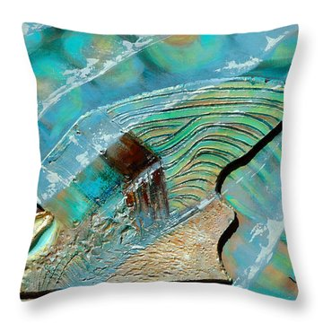 Throw Pillow featuring the painting Fossil On The Shore by Suzanne McKee