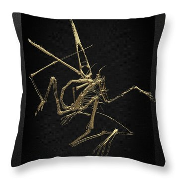 Throw Pillow featuring the digital art Fossil Record - Gold Pterodactyl Fossil On Black Canvas #1 by Serge Averbukh