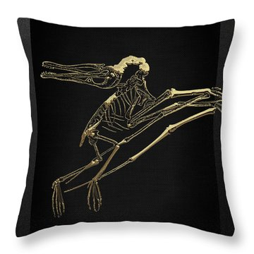 Throw Pillow featuring the digital art Fossil Record - Gold Pterodactyl Fossil On Black Canvas #2 by Serge Averbukh