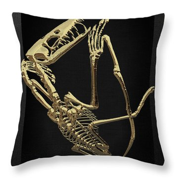 Throw Pillow featuring the digital art Fossil Record - Gold Pterodactyl Fossil On Black Canvas #3 by Serge Averbukh