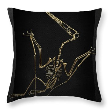 Throw Pillow featuring the digital art Fossil Record - Gold Pterodactyl Fossil On Black Canvas #4 by Serge Averbukh