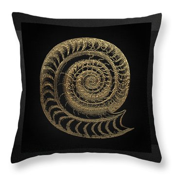 Throw Pillow featuring the digital art Fossil Record - Golden Ammonite Fossil On Square Black Canvas # by Serge Averbukh