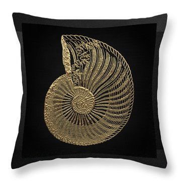 Throw Pillow featuring the digital art Fossil Record - Golden Ammonite Fossil On Square Black Canvas #1 by Serge Averbukh