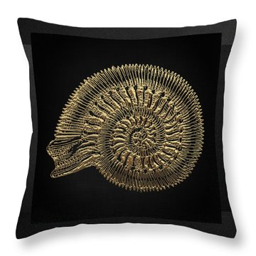 Throw Pillow featuring the digital art Fossil Record - Golden Ammonite Fossil On Square Black Canvas #2 by Serge Averbukh