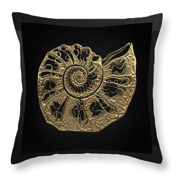 Throw Pillow featuring the digital art Fossil Record - Golden Ammonite Fossil On Square Black Canvas #4 by Serge Averbukh
