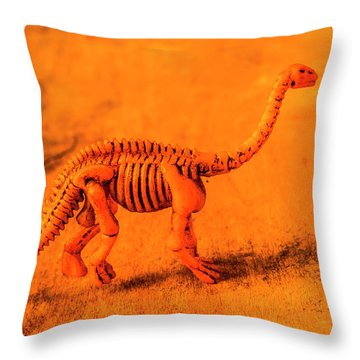 Fossilised Exhibit In Toy Dinosaurs Throw Pillow
