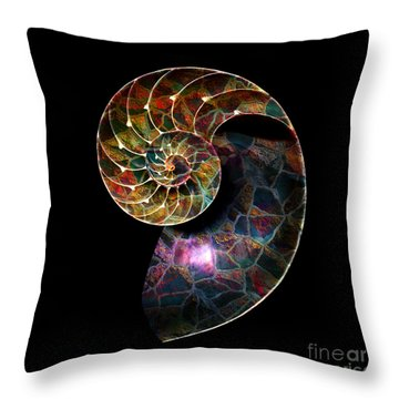 Throw Pillow featuring the digital art Fossilized Nautilus Shell by Klara Acel