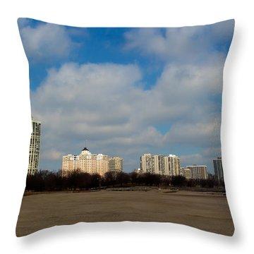 Foster Avenue Beach Throw Pillow by Kathleen Scanlan