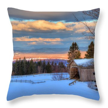 Throw Pillow featuring the photograph Foster Covered Bridge - Cabot, Vermont by Joann Vitali