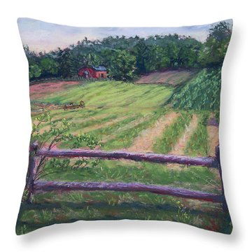 Fosterfields Farm Throw Pillow by Laurie Paci