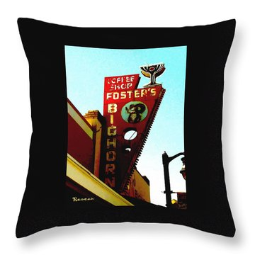 Foster's Bighorn Cafe Throw Pillow by Sadie Reneau